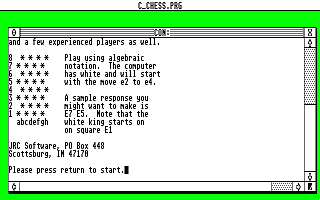 C Chess atari screenshot